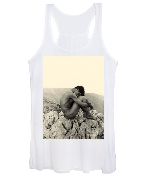 Study Of A Male Nude On A Rock In Taormina Sicily Women's Tank Top