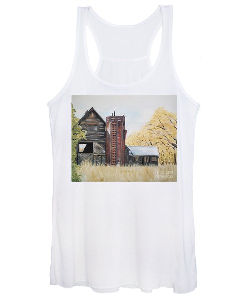 Golden Aged Barn -washington - Red Silo  Women's Tank Top