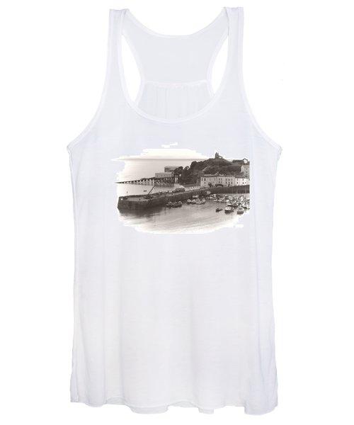 Tenby Harbour And Castle Hill Vignette Women's Tank Top