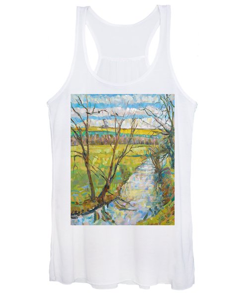 The Cherwell From Rousham II Oil On Canvas Women's Tank Top