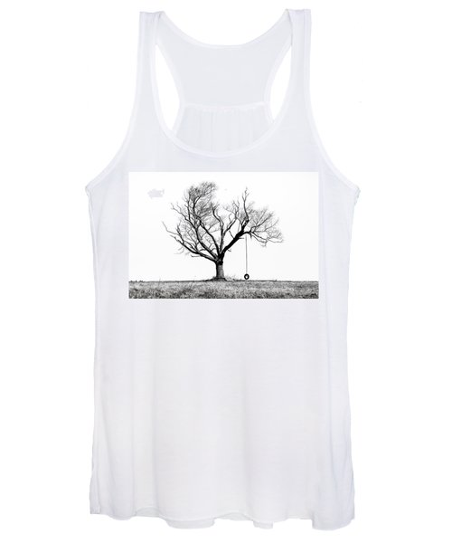 The Playmate - Old Tree And Tire Swing On An Open Field Women's Tank Top