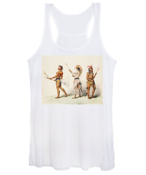Three Indians Playing Lacrosse Women's Tank Top