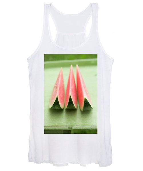 Three Wedges Of Watermelon On Green Table Women's Tank Top