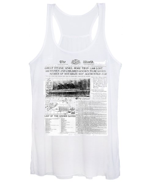 Titanic Sinking Headlines Women's Tank Top