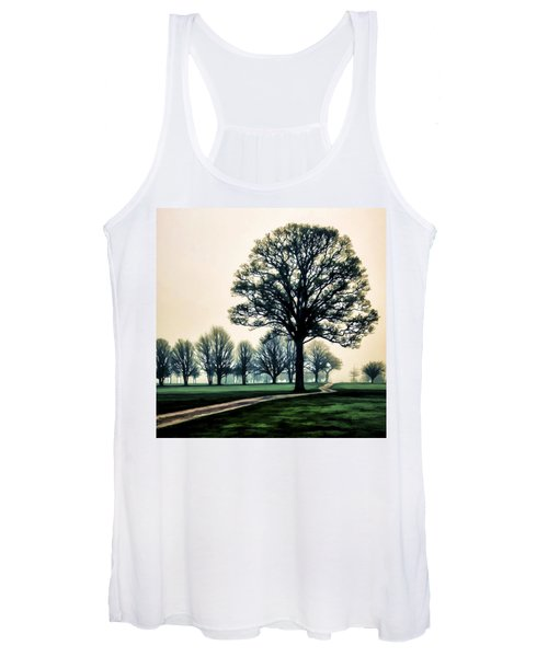 Tree At Dawn On Golf Course Women's Tank Top