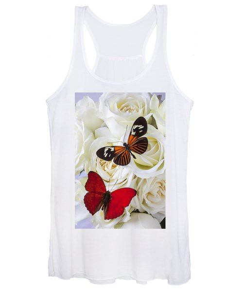 Two Butterflies On White Roses Women's Tank Top
