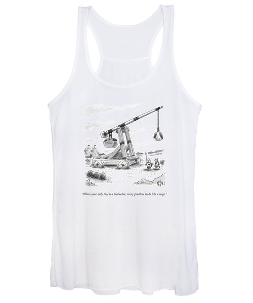Two Medieval Soldiers Stand By Their Catapult Women's Tank Top