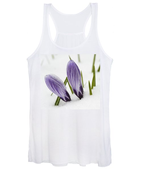 Two Purple Crocuses In Spring With Snow Women's Tank Top
