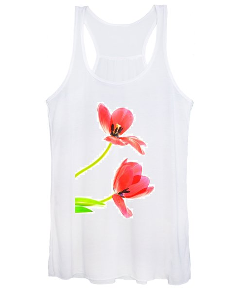 Two Red Transparent Flowers Women's Tank Top