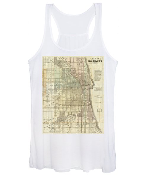 Vintage Map Of Chicago - 1857 Women's Tank Top
