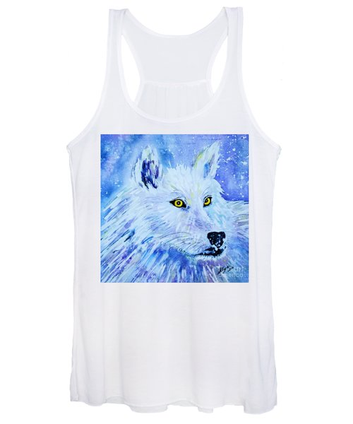 White Wolf - Aurora Nights In Blues - Square Women's Tank Top