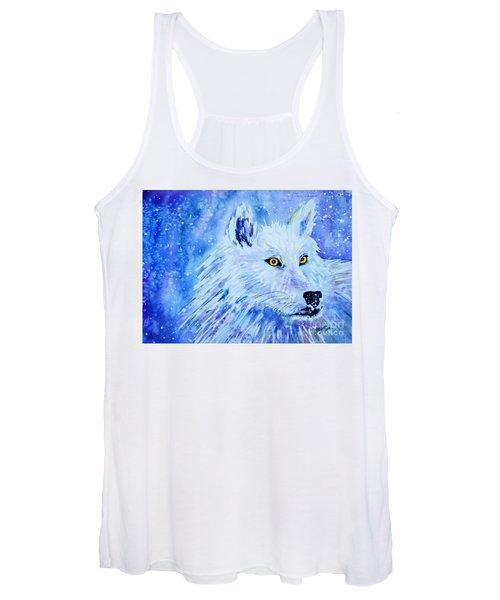 Wolf - White Wolf - Aurora Nights In Blues Women's Tank Top