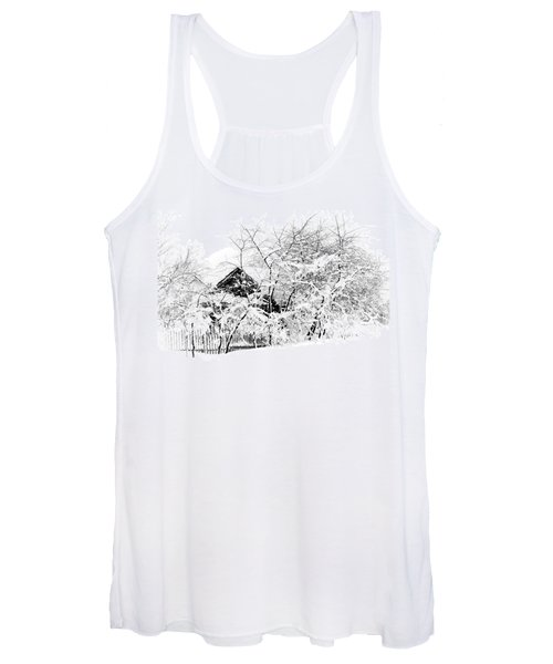 Wooden House After Heavy Snowfall. Russia Women's Tank Top