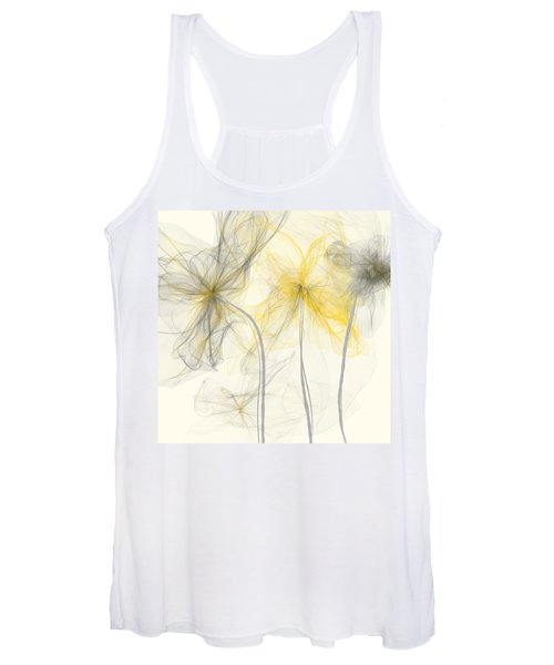 Yellow And Gray Flowers Impressionist Women's Tank Top