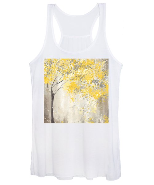 Yellow And Gray Tree Women's Tank Top
