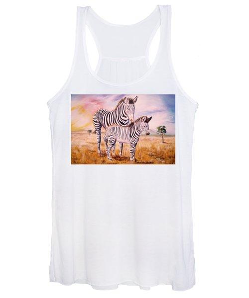 Zebra And Foal Women's Tank Top