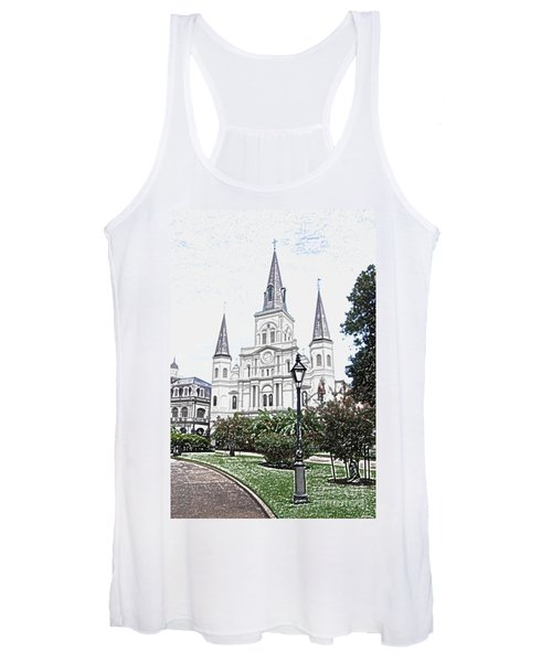 St Louis Cathedral Jackson Square French Quarter New Orleans Colored Pencil Digital Art  Women's Tank Top