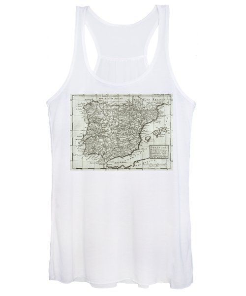 Antique Map Of Spain And Portugal Women's Tank Top