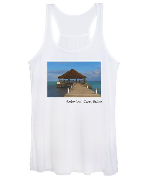 Beach Deck With Palapa Floating In The Water Women's Tank Top