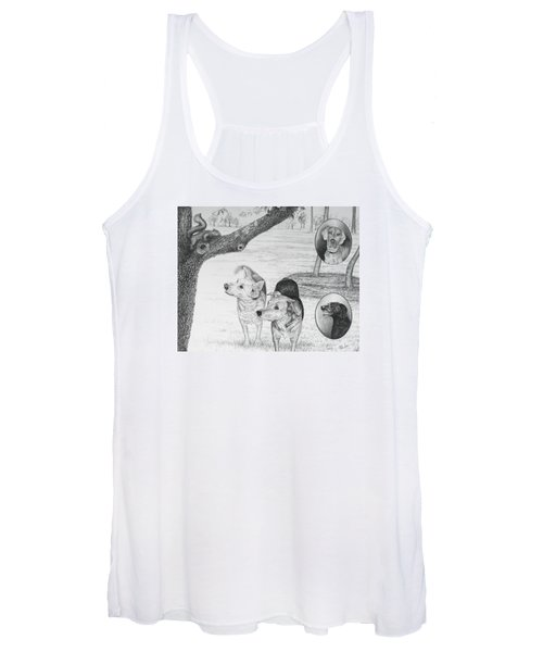 Four Dogs And A Squirrel Women's Tank Top
