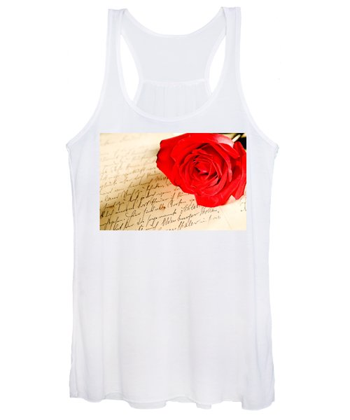 Red Rose Over A Hand Written Letter Women's Tank Top