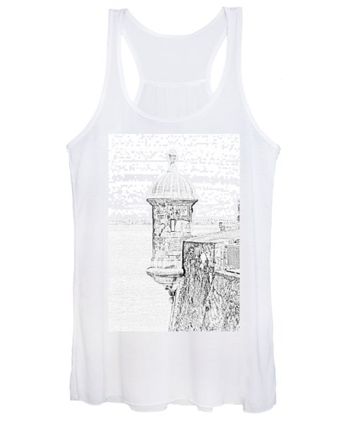 Sentry Tower Castillo San Felipe Del Morro Fortress San Juan Puerto Rico Line Art Black And White Women's Tank Top