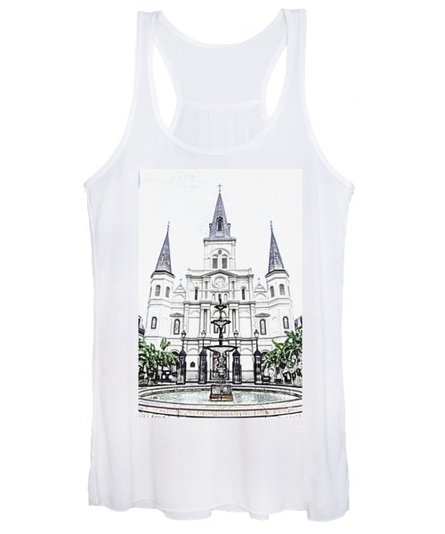 St Louis Cathedral And Fountain Jackson Square French Quarter New Orleans Colored Pencil Digital Art Women's Tank Top