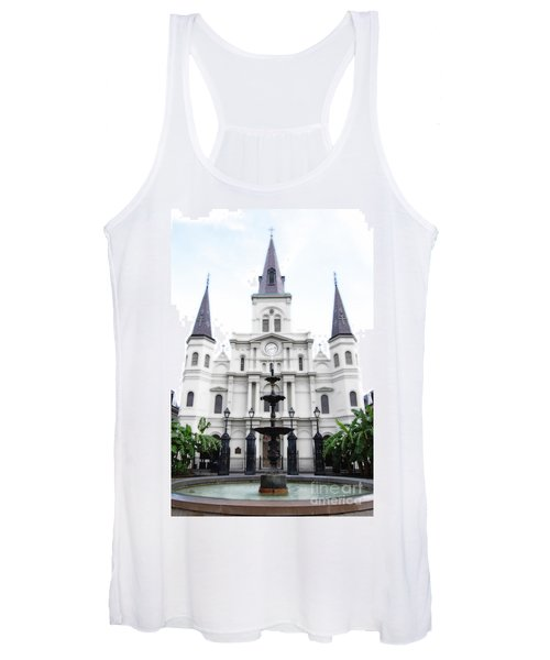 St Louis Cathedral And Fountain Jackson Square French Quarter New Orleans Diffuse Glow Digital Art Women's Tank Top