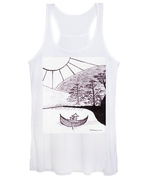 Zen Sumi Asian Lake Fisherman Black Ink On White Canvas Women's Tank Top