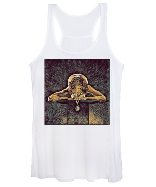 0756s-zac Nude Woman With Amulet On Tall Pedestal  Women's Tank Top