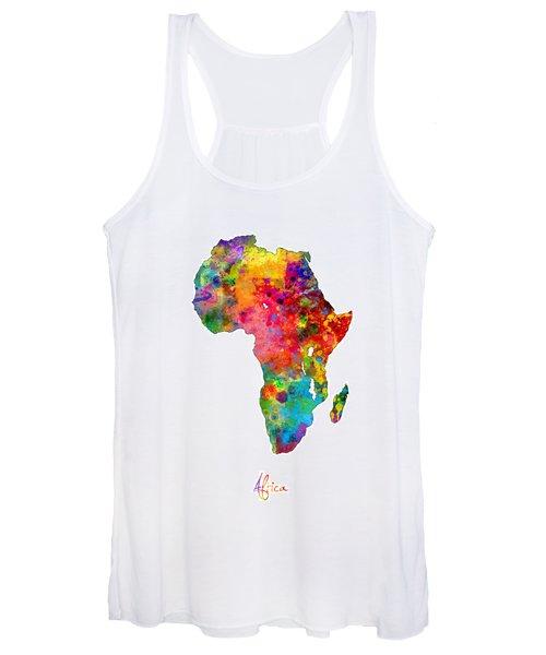 Africa Watercolor Map Women's Tank Top