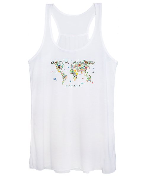 Animal Map Of The World For Children And Kids Women's Tank Top