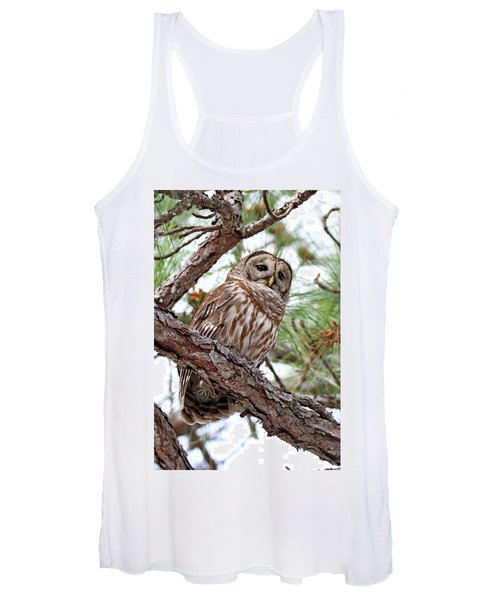 Barred Owl In Pine Tree Women's Tank Top