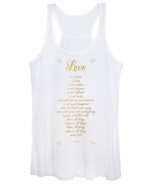 1 Corinthians 13 Love Is White Background Women's Tank Top