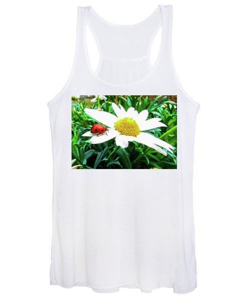Daisy Flower And Ladybug Women's Tank Top