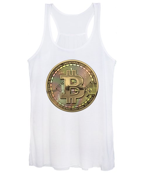Gold Bitcoin Effigy Over White Leather Women's Tank Top