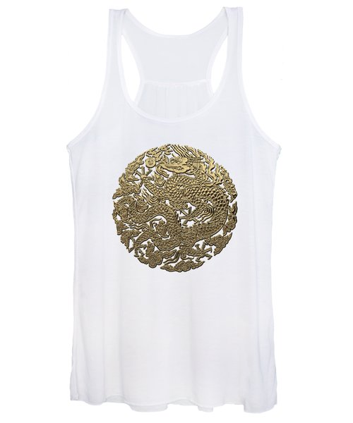 Golden Chinese Dragon White Leather  Women's Tank Top