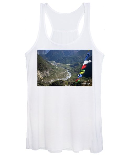 Prayer Flags In The Himalaya Mountains, Annapurna Region, Nepal Women's Tank Top