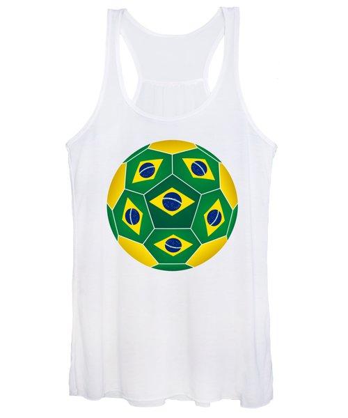 Soccer Ball With Brazilian Flag Women's Tank Top