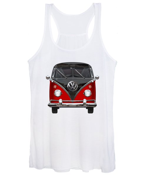 Volkswagen Type 2 - Red And Black Volkswagen T 1 Samba Bus On White  Women's Tank Top