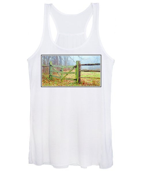 Wooden Fence On A Foggy Morning Women's Tank Top