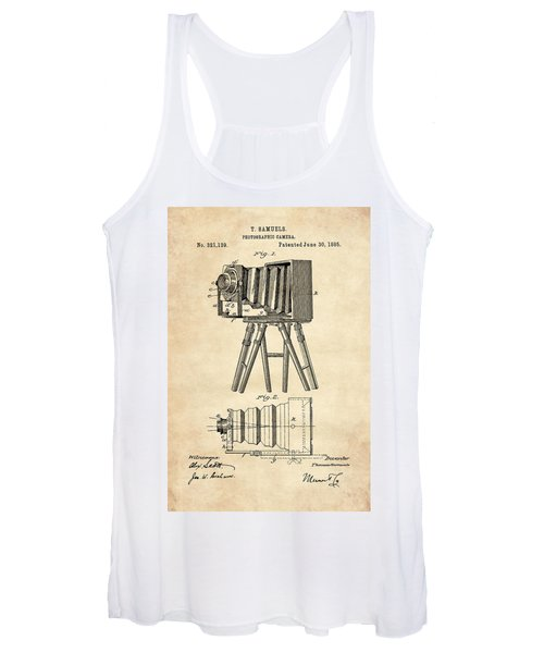 1885 Camera Us Patent Invention Drawing - Vintage Tan Women's Tank Top