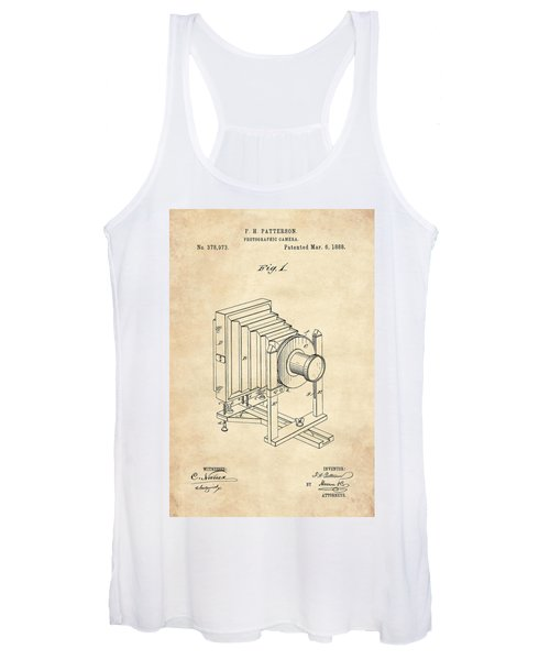 1888 Camera Us Patent Invention Drawing - Vintage Tan Women's Tank Top