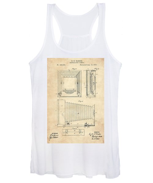 1891 Camera Us Patent Invention Drawing - Vintage Tan Women's Tank Top