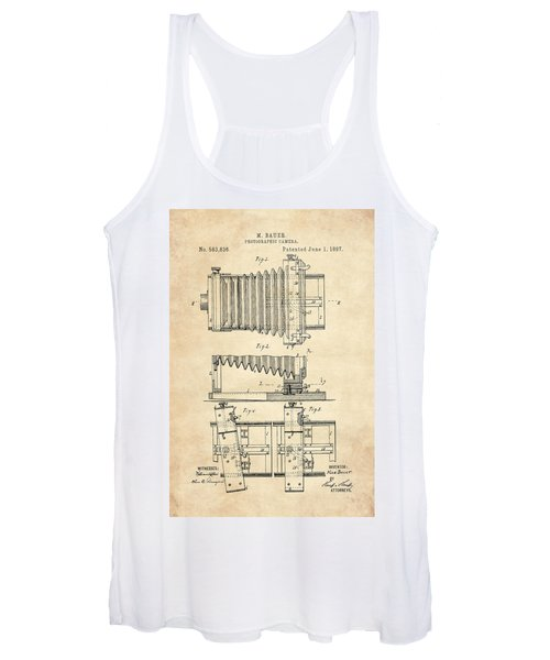 1897 Camera Us Patent Invention Drawing - Vintage Tan Women's Tank Top