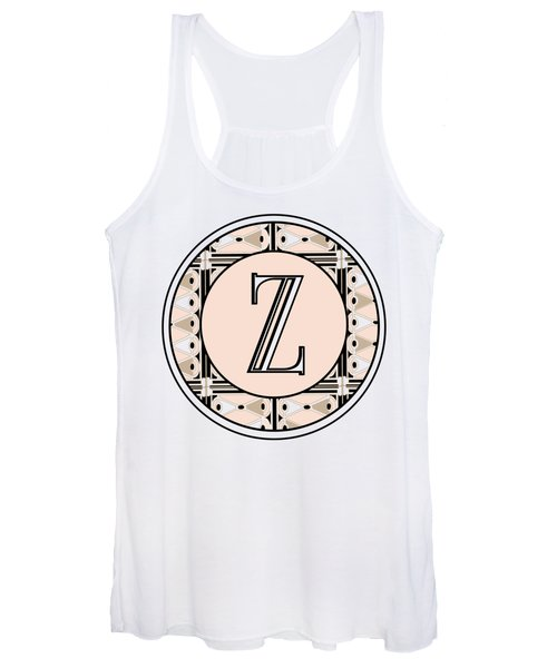 1920s Pink Champagne Deco Monogram  Z Women's Tank Top