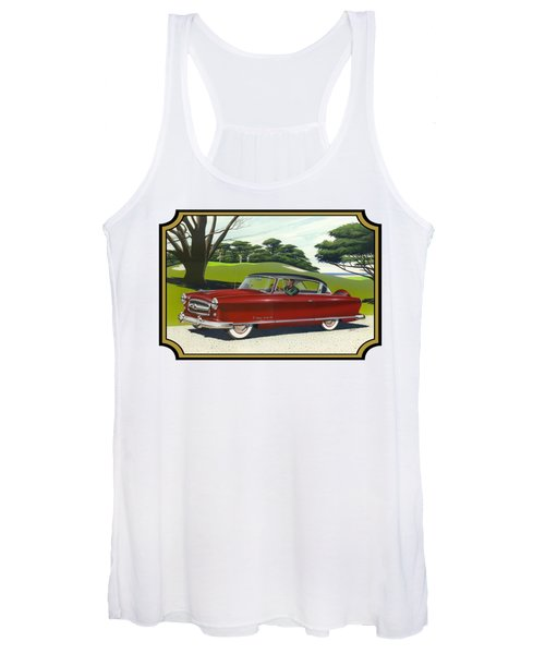 1953 Nash Rambler Car Americana Rustic Rural Country Auto Antique Painting Red Golf Women's Tank Top
