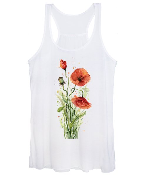 Red Poppies Watercolor Women's Tank Top