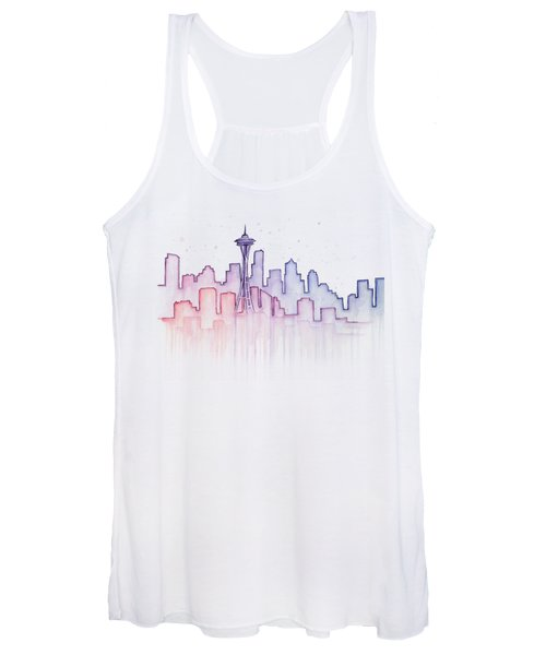 Seattle Skyline Watercolor Women's Tank Top