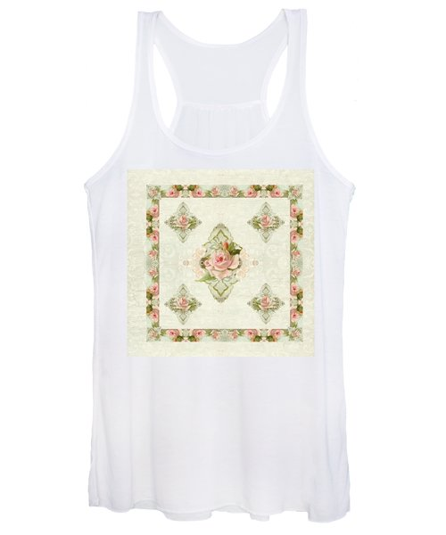 Summer At The Cottage - Vintage Style Damask Roses Women's Tank Top